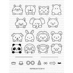 Easy Doodle Art, Doodle Art Drawing, Pencil Art Drawings, Cool Art Drawings, Cartoon Drawings, Easy Drawings, Animal Drawings, Images Kawaii, Animal Doodles