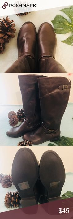 """💕REDUCED💕NIB NWOT AMERICAN 🦅 Tall Riding boots. Dark brown knee high riding boots. These boots were made for strutting! Faux leather upper. Pull- on fit with stretch gore. Buckle detail. Heel 1"""" high. American Eagle Outfitters Shoes Over the Knee Boots"""