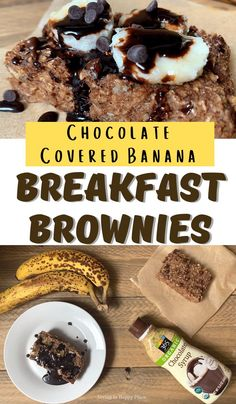 Chocolate covered banana brownies are as delicious as they are healthy! Dairy-free, flourless banana brownie recipe with chocolate chips and oats Chocolate Chip Recipes, Healthy Chocolate, Brownie Recipes, Snack Recipes, Dessert Recipes, Desserts, Easy Recipes, Snacks, Banana Brownies