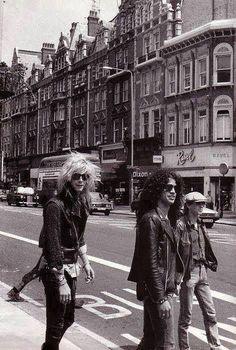Guns N' FN Roses, first tour to London, England.