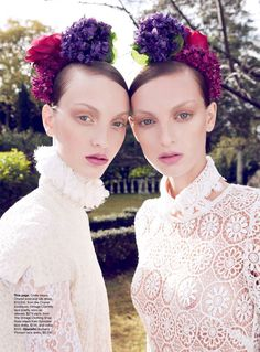 Lace Value Vogue Australia October 2010 Ph: Nicole Bentley Modeled by Codie Young and Rosemary Smith Twin Models, Flower Headpiece, Glamour, Vogue Australia, Floral Hair, Luxury Lingerie, Flowers In Hair, Alter Ego, Hair Pieces