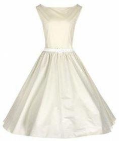 LINDY BOP VINTAGE IVORY 1950s AUDREY HEPBURN STYLE ROCKABILLY SWING BRIDESMAIDS DRESS