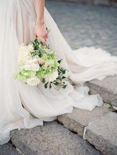 bouqyet and trailing wedding dress // photo by Eric McVey