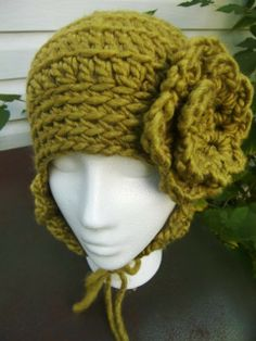 Lotus  Ear Flaps Hat with Flower