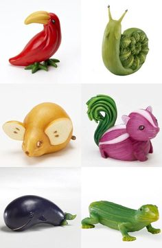 I love food art.Fruit and veggie animals Wish I could learn to make animals out of fruits and vegetables. Sure beats a sorry piece of parsley as a FruitGive your kid a basic knowledge of Colour, Shapes, Fruits and Vegetables with 'LEARN WITH FUN' app. Vegetable Animals, Fruit Animals, Animal Food, Vegan Animals, Zoo Animals, Fruit Sculptures, Food Sculpture, Veggie Art, Fruit And Vegetable Carving