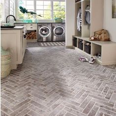 Material we?e loving: Brick-look tile. so much more achievable to add this rustic look to a mudroom, bathroom, kitchen? Think beyond the floor - this tile is also great on the wall. House Design, House, Home, Home Remodeling, Laundry Design, New Homes, Mudroom Laundry Room, Brick Flooring, Brick Look Tile