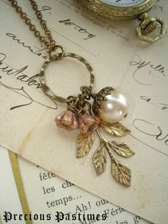 WOODLAND WALK - Acorn Necklace. Antiqued Brass Leaves, Champagne Glass Pearl, Rose Luster Flowers. Rustic Woodland Necklace. Garden Jewelry.