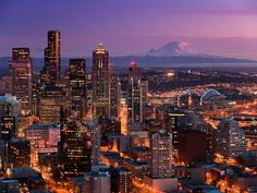 Seattle, Washington skyline with Mt Rainer in the distance without the world famous Space Needle.