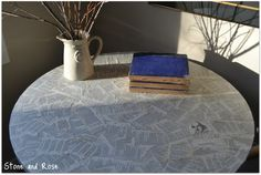 Book page table top - aaawesome.  What can I do this to... *eyeing all the surfaces in the house*