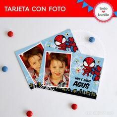 Tarjeta con Foto imprimible del Hombre Araña por Todo Bonito
