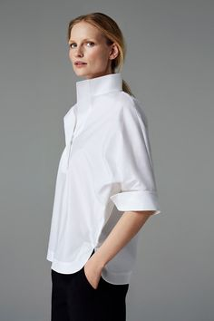 CH Carolina Herrera Woman - White Shirt Collection - Fall 2016 - Luxe Fashion New Trends - Fashion for JoJo Classic White Shirt, Crisp White Shirt, Blusas Carolina Herrera, Style Board, Look Street Style, Street Styles, Mode Top, Moda Chic, Work Fashion