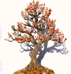 Autumn Bonsai Tree Wire Beaded Sculpture Handmade by AksaBeading