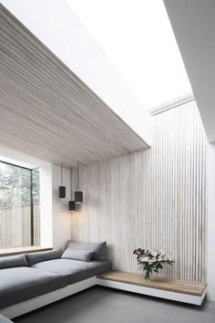 White-washed ash slats line a seating area in a London Victorian homes brick extension by local firm Studio 1 Architects. : - Architecture and Home Decor - Bedroom - Bathroom - Kitchen And Living Room Interior Design Decorating Ideas - Brick Extension, House Extension Design, Glass Extension, House Design, Simple House Interior Design, Stylish Interior, Modern Design, Architecture Design, Minimalist Architecture