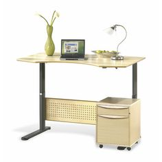 Unique Furniture Sit-Stand Series Prestige Wood Height Adjustable Standing Desk Finish: Teak