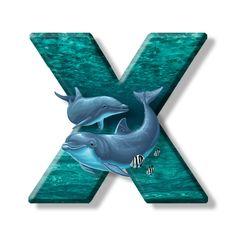 Buchstabe - Letter X Monogram Alphabet, Illustration, Alphabet, Sailors, Lyrics, Marine Life, Pisces, Letters, Water