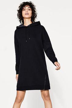 Zipp-Hoodie-Kleid aus Baumwoll-Mix