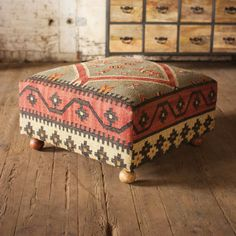 Interior, Beautiful Kilim Ottoman Design Antique Interior Furniture On Rustic Wood Floor For Classic Themed Living Room: Mid Century Room Decor Design for Wonderful House Diy Furniture, Modern Furniture, Futuristic Furniture, Plywood Furniture, Furniture Design, Kilim Ottoman, Ottoman Decor, Fabric Ottoman, Diy Ottoman