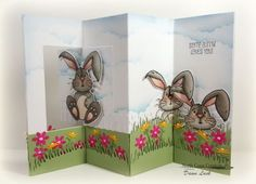 North Coast Creations Stamp Set: Hippity Hoppity, Our Daily Bread Designs Fun and Fancy Folds - Lever Card, North Coast Creations Custom Die: Bunny, Our Daily Bread Designs Custom Dies:  Fence, Grass Lawn, Grass Hill,  Flower Box Filler