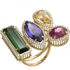 Ring in 18k yellow gold (13.65gr), diamonds 0.702ct, tourmaline 3.37ct, tourmaline 5.36ct, tanzanite 5.58ct and imperial topaz 2.13ct by Demidoff.
