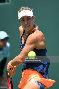 Angelique Kerber of Germany in action against Shelby Rogers of USA at Crandon Park Tennis Center on March 26, 2017 in Key Biscayne, Florida.