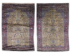 PAIR OF KASHAN SILK PRAYER RUGS CENTRAL PERSIA, EARLY 20TH CENTURY EACH APPROXIMATELY 200CM X 132CM - SALE 411 - LOT 862 - LYON & TURNBULL