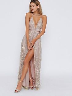 Sequins Sleeveless Sweep/Brush A-Line Evening Dress #eveningdresses #sexydresses #partydresses #formaldresses #homecomingdresses