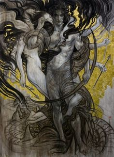 Eros, original oil on canvas by Rebecca Leveille-Guay Art Masculin, Illustrations, Illustration Art, Poster Design, Greek Gods, Art Plastique, Traditional Art, Dark Art, Oeuvre D'art
