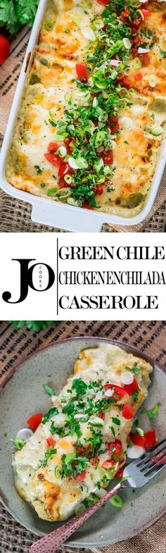 Add can black beans Layer like casserole This Green Chile Chicken Enchilada Casserole can be on your dinner table in 30 minutes! It doesn't get any easier than these chicken enchiladas, they're creamy, cheesy and perfect! Tacos, Tostadas, Tex Mex, Quesadillas, Mexican Dishes, Mexican Food Recipes, Green Chili Recipes, Burritos, Cheesy Chicken Enchiladas