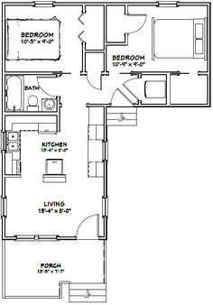 14x32 Tiny Houses 644 Sq Ft PDF Floor By ExcellentFloorPlans
