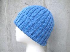 Heather Blue Hat Hand Knit Wool Teens Men Women Watch by Girlpower