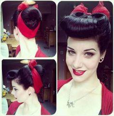 Vintage Red Nylon Head Scarf neck scarve retro Pin Up rockabilly head wrap bow bandana Rockabilly Mode, Rockabilly Fashion, Rockabilly Bangs, Rockabilly Makeup, 50s Makeup, Vintage Makeup, Crazy Makeup, Makeup Art, 50s Hairstyles