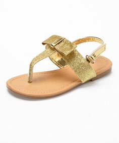 Gold Glitter Bow Sandal by Spoiled Angel Kids #zulily #zulilyfinds