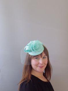 Mint Aqua Fascinator Veil Cocktail Hat. Sinamay by SophieShields