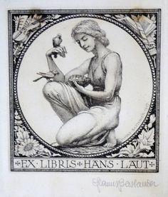 EXLIBRIS 42   NUDE WOMAN AND BIRD  - * HANS BASTANIER * - CALCO SIGNED! CM.10X10