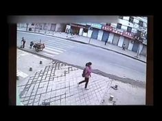 Girl swallowed by pavement in China! Aren't those yellow caution tapes made in China?