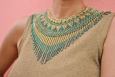 Gold, teal and multi green seed bead necklace