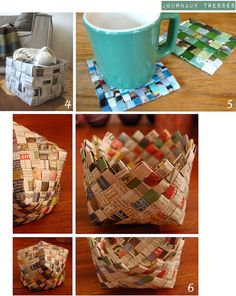 avec_vieux_journaux-Plumetis2 Paper Basket, Pinterest Diy, Reuse Recycle, Journal, Amazing Art, Origami, Projects To Try, Weaving, Deco
