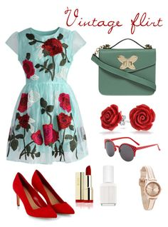 """""""Vintage Flirt"""" by feeshion ❤ liked on Polyvore featuring moda, Chicwish, Dorothy Perkins, Bling Jewelry, Essie, vintage, women's clothing, women, female y woman"""