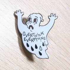 1.5 inch anxiety ghost hard enamel pin