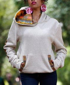 Dashiki African Print Hoodie Creme by RolaReefa on Etsy