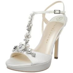 T strap Wedding shoes with rhinestones and pearls. Click image to purchase.