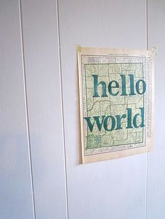 Hello World Baby Shower Gift Vintage Map Art State by OpusandVerse, $16.50