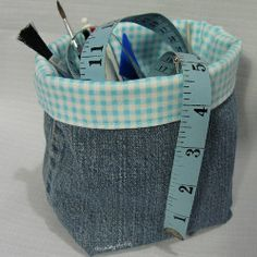 Denim Fabric Basket Tutorial.  Makes me think of something Granny would make. Maybe adding lots of back pockets around it!