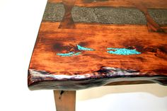 concrete tables with wood inlay - Google Search Handmade Furniture, Wood Furniture, Concrete Table, Resin Table, White Mountains, Polished Concrete, Turquoise, Dremel, Woodworking Projects