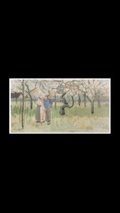 """Vincent Van Gogh - """" Orchard in Blossom with two Figures : Spring """", 1882 - Watercolor, pen and ink on paper - 5,8 x 10,6 cm - Van Gogh Museum, Amsterdam (Vincent Van Gogh Foundation)"""
