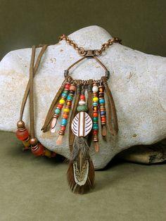 Native Tribal Necklace  Long Bohemian Necklace  by StoneWearDesigns