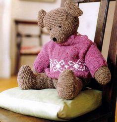 Pas très prèsente ces moments-ci, je poste un modèle d'ourson à réaliser au tricot et deux pulls pour son habillement ,je tricote peu pour le moment ,un boléro seras bientot terminer que je montrer...
