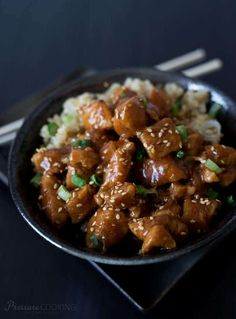 Instant Pot Honey Sesame Chicken from Pressure Cooking Today and other great instant pot recipes #instantpot #instapot #pressurecooker #easyrecipes #instantpotdinners #instapotrecipes #pressurecookerrecipes #instantpotrecipes #easyinstantpotrecipes