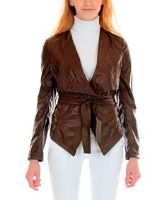Brown Tie Faux Leather Jacket by Ironi Collection #zulily #zulilyfinds