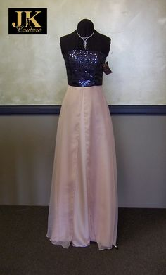 Chloe  Navy sequin and blush chiffon dress by JKCoutureDesigns, $600.00